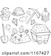 Clipart Outlined Mining Items Royalty Free Vector Illustration by visekart