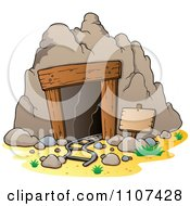 Clipart Mining Cave Entrance With Rails And A Sign Royalty Free Vector Illustration