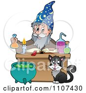 Clipart Cat Watching A Happy Alchemist Wizard Make A Spell Royalty Free Vector Illustration by visekart
