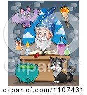 Clipart Bat And Cat Watching A Happy Alchemist Wizard Make A Spell Royalty Free Vector Illustration by visekart