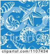 Clipart Seamless Blue And White Sketched Sea Shell Pattern Royalty Free Vector Illustration by visekart