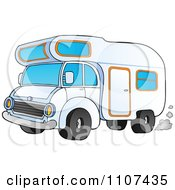 Clipart Driving Camper Van Royalty Free Vector Illustration