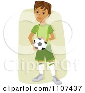 Clipart Happy Hispanic Soccer Boy Holding A Ball Over Tan Royalty Free Vector Illustration