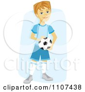 Clipart Happy Caucasian Soccer Boy Holding A Ball Over Blue Royalty Free Vector Illustration