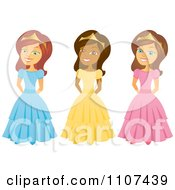 Clipart Happy Black And Caucasian Princesses Royalty Free Vector Illustration