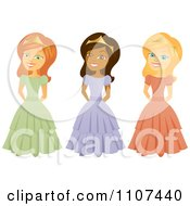 Clipart Happy Red Haired Indian And Blond Princesses Royalty Free Vector Illustration