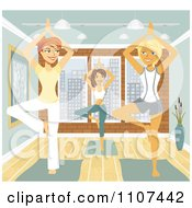 Clipart Three Happy Women In The Tree Pose In Yoga Class Royalty Free Vector Illustration