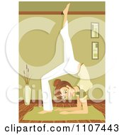 Fit Brunette Woman In The Yoga Scorpion Pose