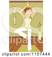 Clipart Fit Brunette Woman In The Yoga Tree Pose Royalty Free Vector Illustration