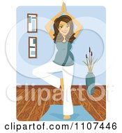 Happy Brunette Pregnant Woman In A Yoga Tree Pose