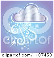 Rain Cloud With Wind And Droplets And A Diagonal Line Pattern On Purple