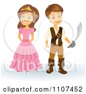 Clipart Happy Princess And Pirate Royalty Free Vector Illustration