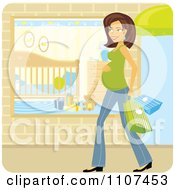 Happy Brunette Pregnant Woman Shopping For Baby Items