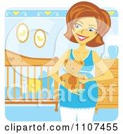 Happy Pregnant Caucasian Woman Holding A Teddy Bear In A Baby Boy Nursery