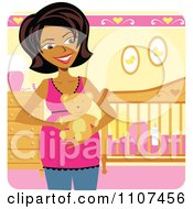 Happy Pregnant Indian Woman Holding A Teddy Bear In A Baby Girl Nursery