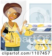 Clipart Happy Pregnant Indian Woman Clothes Shopping For A Baby Girl Royalty Free Vector Illustration by Amanda Kate