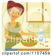 Happy Pregnant Woman Making A Healthy Salad With Supplements And Water