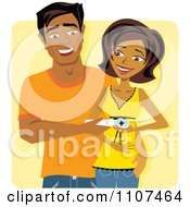 Clipart Happy Indian Couple Holding A Positive Pregnancy Test Over Yellow Royalty Free Vector Illustration
