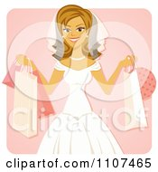 Happy Blond Bride Holding Up Shopping Bags Over Pink