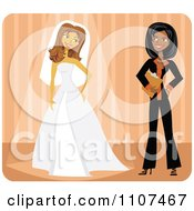 Clipart Friendly Black Wedding Planner And Bride Trying On Her Dress Over Orange Royalty Free Vector Illustration by Amanda Kate #COLLC1107467-0177