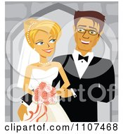 Happy Caucasian Wedding Couple Smiling At Each Other