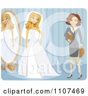 Friendly Brunette Wedding Planner And Bride Trying On Her Dress Over Blue
