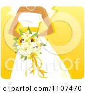 Clipart Hispanic Bride Holding A Sunflower And Lily Bouquet Over Yellow Royalty Free Vector Illustration by Amanda Kate