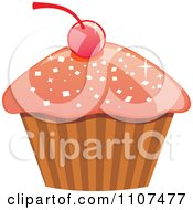 Cupcake With Pink Sparkly Frosting And A Cherry 2