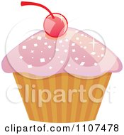 Cupcake With Pink Sparkly Frosting And A Cherry 3