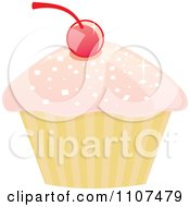 Cupcake With Pink Sparkly Frosting And A Cherry 4