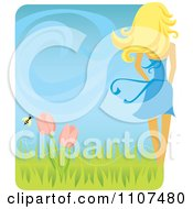 Clipart Rear View Of A Slender Blond Woman With A Spring Breeze Tulips And Bee Royalty Free Vector Illustration
