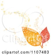 Clipart Two Autumn Leaves With Flower Designs Royalty Free Vector Illustration