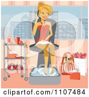 Happy Woman Talking On Her Phone While Soaking Her Feet With Shopping Bags And Her Dog By Her Side In A Spa