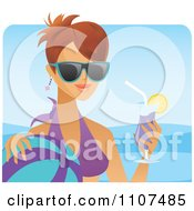 Clipart Happy Brunette Woman With A Cocktail Sunglasses And Ball On A Beach Royalty Free Vector Illustration by Amanda Kate