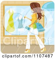 Brunette Woman Window Shopping With Coffee In Hand On A Summer Day