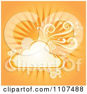 Orange Background Of Sunshine Swirls And A Cloud