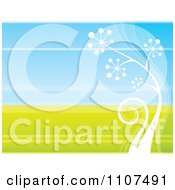 Clipart Retro White Plant Growing Over Green And Blue Royalty Free Vector Illustration