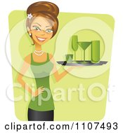 Clipart Happy Brunette Cocktail Waitress Decked Out In Green For St Patricks Day Royalty Free Vector Illustration