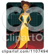 Clipart Beautiful Female Celebrity Posing In A Yellow Dress On The Red Carpet Royalty Free Vector Illustration by Amanda Kate