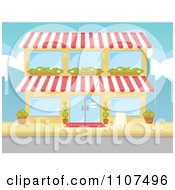 Clipart Two Story Building Facade With Window Planters Royalty Free Vector Illustration