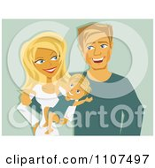 Clipart Happy Caucasian Mother And Father With A Baby Royalty Free Vector Illustration