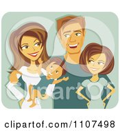 Clipart Happy Caucasian Mother And Father With A Baby And Teenager Over Green Royalty Free Vector Illustration