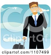 Clipart Happy Caucasian Business Man With Luggage Talking On A Cell Phone At An Airport Royalty Free Vector Illustration by Amanda Kate