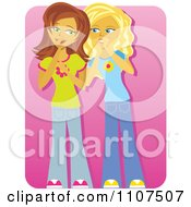 Clipart Two Teenage Girls Gossiping And Telling Secrets On Pink Royalty Free Vector Illustration