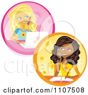 Clipart Teenage Girls Talking On Cell Phones Writing And Using A Laptop Royalty Free Vector Illustration by Amanda Kate