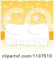 Retro Frame With Copyspace Over A Textured Yellow And White Floral Pattern