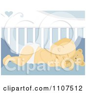 Clipart Sleeping Baby Boy Resting His Head On His Teddy Bear In His Crib Royalty Free Vector Illustration