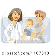 Happy Female Pediatric Doctor With A Baby Boy And Mom Over Purple
