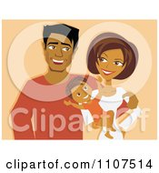Clipart Happy Hispanic Mother And Father With A Baby On Pastel Orange Royalty Free Vector Illustration