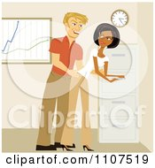 Clipart Man Sexually Harassing A Colleague In An Office Royalty Free Vector Illustration by Amanda Kate